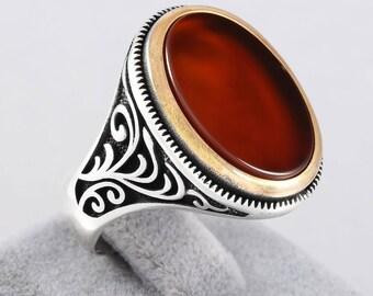 Turkish Handmade Red Garnet Stone 925 Sterling Silver Men's Ring Eastern Motifs(n47-3)