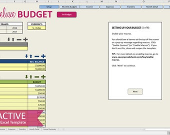 Super Deluxe Budget - Easy Automated Excel Budget Template