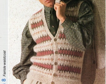 Mens Fair Isle Sweater Knitting Patterns : Aran vest Etsy