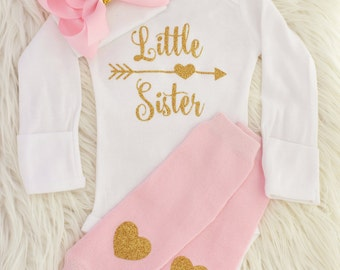 Little sister outfit, baby girl coming home outfit, little sister shirt, baby girl, newborn girl, going home outfit, coming home baby girl,