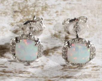 14K White Gold Created Opal & Diamond Stud Earrings, October Birthstone, 0.92 CTW Opal, 1/10 CTW Diamonds