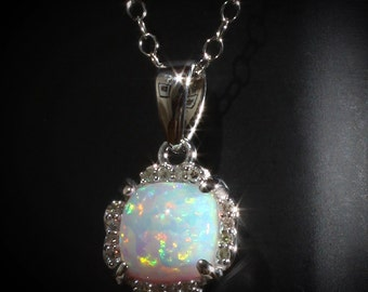 "Dainty 14K White Gold Opal & .05 CTW Diamond Halo 18"" Necklace Set with 6MM or 0.84 CTW Opal"