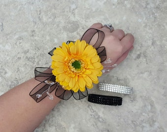 Yellow Gerbera Daisy, Crystals and Wired Ribbon Accent Rhinestone Wrist Corsages & BOX - MATCHING BOUTONNIERES!