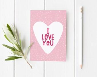 Anniversary Card, I Love You Card, Heart Valentine's Card, Cute Anniversary Card, Valentines Card For Him, Simple Anniversary Card