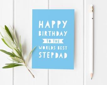 Birthday Card For Stepdad, Worlds Best Step Dad Card, Number 1 Step Dad Birthday Card, Happy Birthday Card Dad, Birthday Card Stepdad
