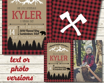 Lumberjack birthday invitation - Lumberjack party - Lumberjack first birthday invitation - Lumberjack decorations - Buffalo Plaid - 1st birt