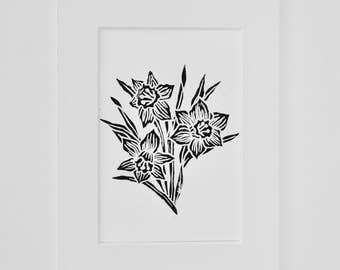 Daffodil Original Lino Print