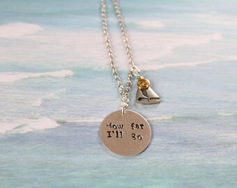 How far I'll go hand stamped quote necklace