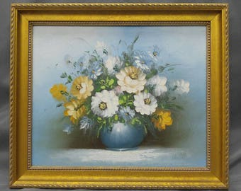 Vintage original flowers still life painting floral bouquet