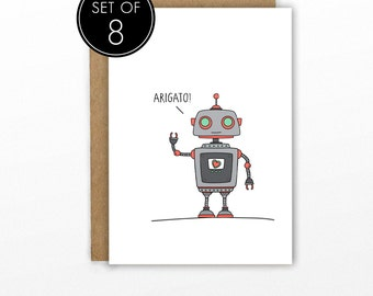 Thank You Cards | SET OF 8 | Arigato Robot by Cypress Card Co.