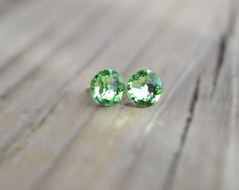 Peridot Colored Crystal Earrings Genuine, Stunning Handmade Swarovski with Hypoallergenic Nickel-Free Setting Perfect for Gifting