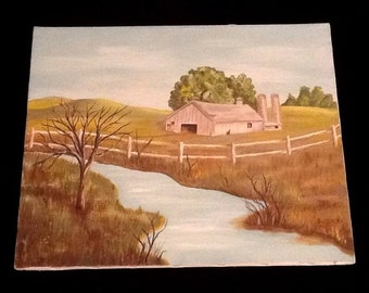 "Retro 16x20"" OIL PAINTING Farm Barn Landscape Signed B. OHRENS Creek Vintage Fence"