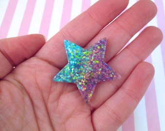 2 Blue and Purple Glitter Resin Star Cabochons #915