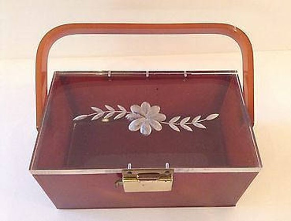 Rare Small Amber Lucite Bag with Etched Flower