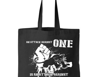 Black Panthers Party An Attack Against One is an Attack Against All Tote Shopping Shoulder Bag - Malcolm X Black Panthers Civil Rights