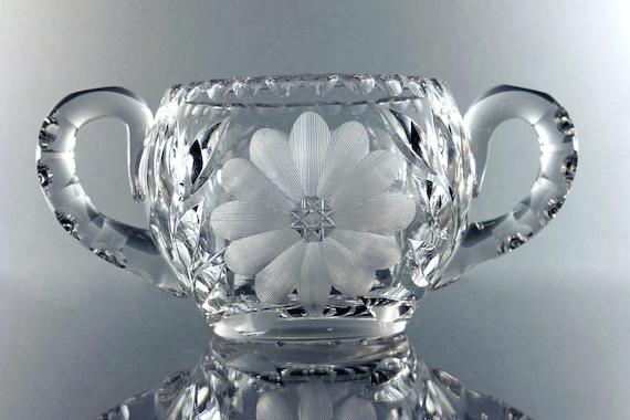 American Brilliant Sugar Bowl, Antique Leaded Crystal, Large Sized, Wheel Cut, Clear Cut Glass