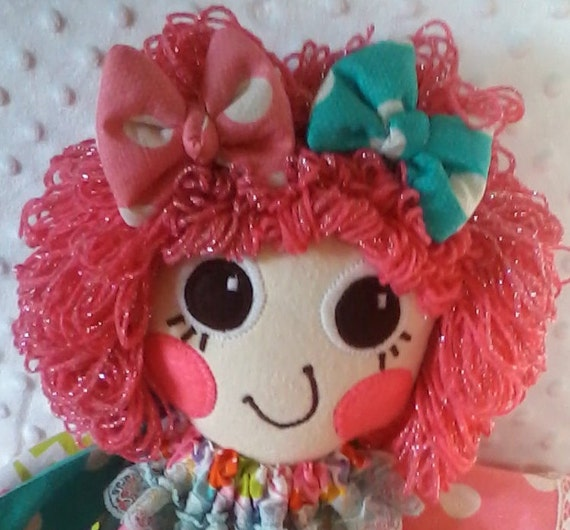 SILLY SALLY DOLL Handmade Rag Doll Pink Sparkle Hair Doll