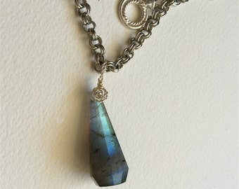 Necklace 403, Large Labradorite Prism Pendant