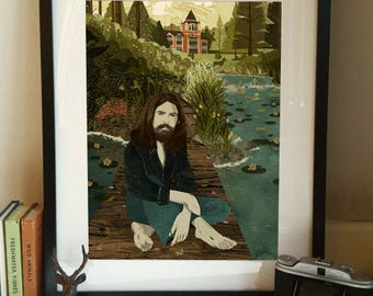 George Harrison The Beatles 'Friar Park' 1970s Illustration Poster A3