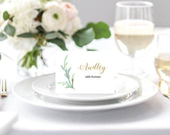 Greenery wedding table place card template - flat and folded name place cards. 3.5x2.5 inches. DIY place cards