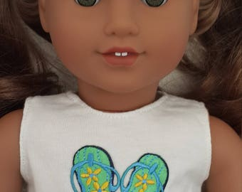 """White Crop Top with green floral flip flop applique for 18""""Girl Dolls - 18inch doll clothes - White sleeveless crop top  - doll top"""