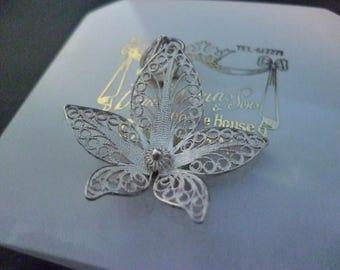 "Vintage filigree silver flower pendant - 925 - 1.4"" x 1.15"""