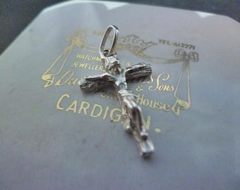 """Small vintage crucifix pendant - 925 - sterling silver - 1.25"""""""