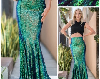 Iridescent Green Sequin Maxi Skirt - Mermaid