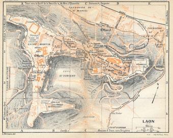 1930 Laon France Antique Map