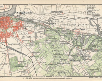 1910 Nijmegen, Netherlands (Holland) Antique Map
