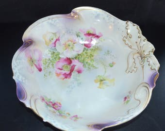 Antique German Porcelain JSV Bowl Stylized Iris Poppy Decor Johann Seltmann Bavaria