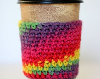 Rainbow Coffee Sleeve Crochet Coffee Cozy