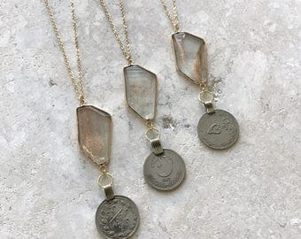 Champagne crystal and kuchi coin necklace