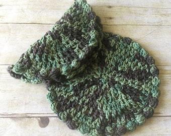 Round Dishcloth Set, Green Crochet Dishcloths, Cotton Washcloth, Crochet Dishcloths, Camouflage Dishcloths, Hostess Gift, Military Decor
