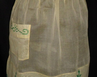 Vintage Sheer Yellow Apron w/ Green Accents