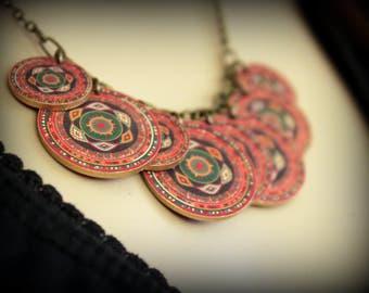Vintage Blanket - Necklace - Tribal - Vintage Tribal - Charm Necklace - Vintage Vibe - Bohemian - Boho Chic - Gypsy Soul - Circle - Wheel