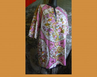 Cotton Bird Print and floral Tunic, muted pinks and mustard.  Charming peasant, boho