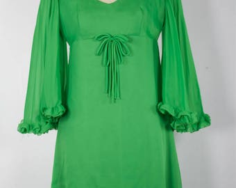 SALE Vintage 1970s Long Bright Green Dress with Flared Sleeves