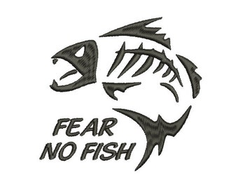 Fear no Fish Embroidery Design in 2 Sizes - INSTANT DOWNLOAD