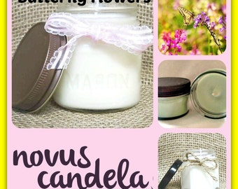 Soy Candle Mason Jar ~ Butterfly Flowers Scented Soy Candle ~ Mason Jar Candle ~ Soy Candle ~ Scented Candle ~ Handmade Candle  4 & 8 oz