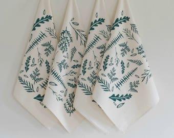 Woodland Ferns Napkin Set - Hand Printed Cloth Napkins - Washable - Reusable - Cotton Napkin Set - Eco Friendly - Fern - Screen Printed