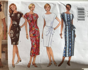 Butterick 4436 - Slightly Tapered Dress with Bateau Neckline and Skirt Overlay with Side Tie - Size 6 8