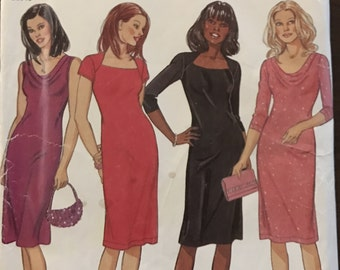 New Look 6154 - Easy Body Conscious Dress with Cowl or Queen Ann Neckline - Size 6 8 10 12 14 16