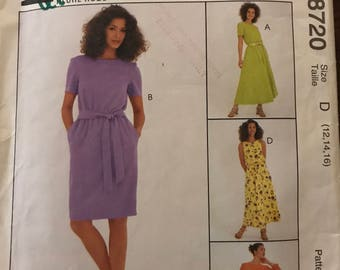 McCalls 8720 - Womans Day Pullover Dress with Straight or Flared Skirt and Self Tie Belt - Size 12 14 16