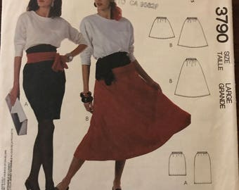 McCalls 3790 - 1980s Easy to Sew Endless Options Straight or Flared Skirts - Size Large 18 20