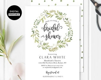 Printable Bridal Shower Invitation - Simple Shower - Garden Bridal Shower Invite, DIY Greenery Invites, Botanical Theme, Green Leaves