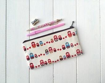 Kids Pencil Case, Matyoshka Pencil Case, Art Brush Holder, Quirky Pencil Pouch, Back to School Supplies, Makeup Brush Case/Matryoshka Family