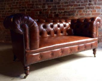 Howard & Sons Antique Chesterfield Sofa Settee Victorian 19th Century