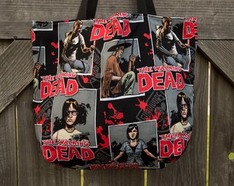 Walking Dead Mini Tote, Shopping Bag, Tote, Grocery Bag, Reusable, Vegan