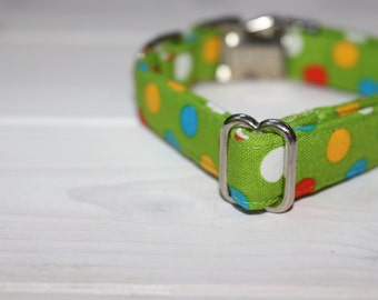 Green Dog Collar, Boy Dog Collar, Polka Dot Dog Collar, Fabric Dog Collar, Handmade Dog Collar, Puppy Dog, Pet Collar